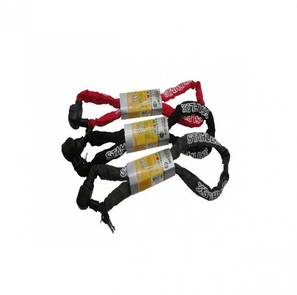 25626 Kettenschloss, 5.5 x 1200 mm, 2 Schlüssel, farbig sortiert, Textilüberzug