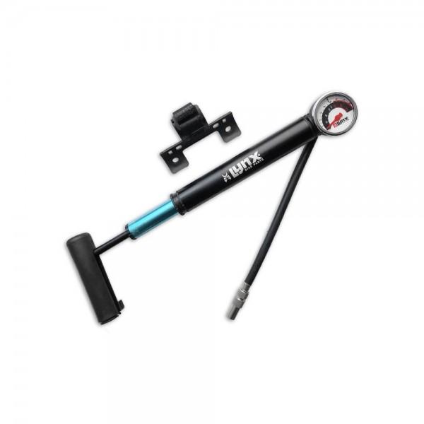 21267 Mini-Pumpe, alle Ventilarten, bis 8 bar, mit Manometer, incl. klappbarem flexiblem Schlauch