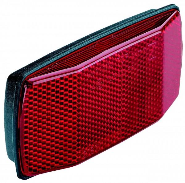 01515 Reflektor für Gepäckträger, rot, 50 / 80 mm, mit Metall-Haltebügel
