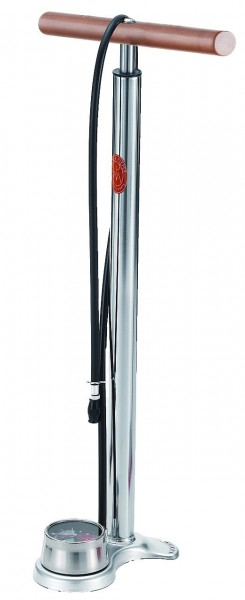 21333 hochwertige Standpumpe AIRFISH, MP, Holzgriff und Manometer, 14 Bar, verchromt