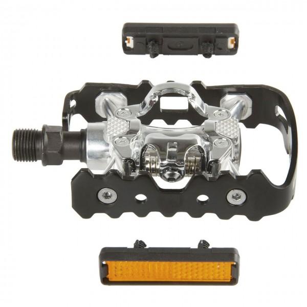 20218 Kombipedal, Dual-Funktion, Aluminium, CrMo-Achse, Shimano compatible, schwarz/ silber