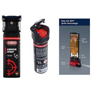 78093 6 Abus Abwehrspray SDS80, Pfefferspray, 360°-Sprüh-Technologie, Spraydose 45 ML