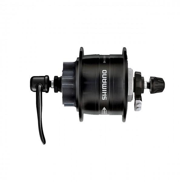 01104 Nabendynamo DH 3D32 QR, 32 Loch, 6 V - 3 W, Scheibenbremsaufnahme, Schnellspanner, schwarz