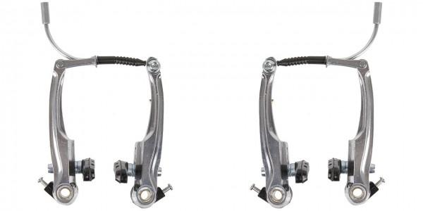 03105 V-Brake Set, Aluminium, VR + HR, 110 mm, Bremsschuh 70, silber