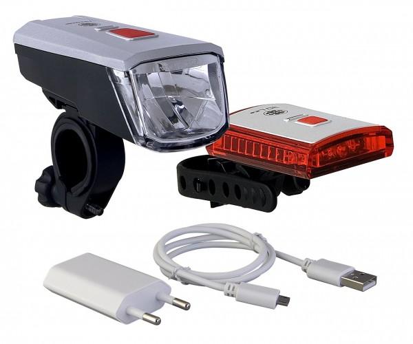 01435 Beleuchtungs-Set Vancouver, 40 LUX, Frontleuchte + Rückleuchte, USB, incl. Akku´s