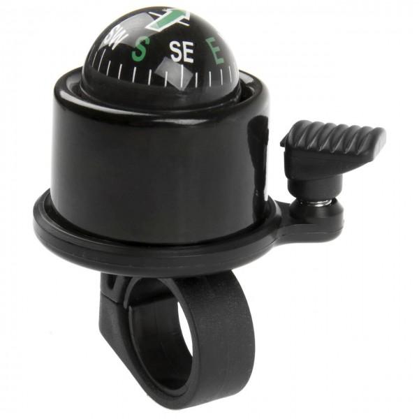 07326 Mini-Glocke mit Kompass, Aluminium, 360° drehbar, schwarz